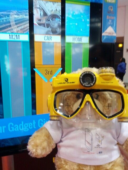 Goggles on the Go! NFC enabled teddy bear at the Chicago Auto Show.