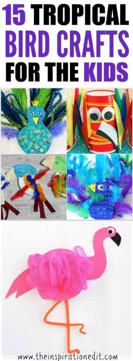 Tropical Bird Crafts For Kids Here are some fantastic Tropical Bird Craft Ideas for kids which are fun, easy and simple to make.  #KidsCraft #CraftIdeas #birdcrafts #flamingocraft #craftwithkids #craftsforkids #prek #preschoolers #preschoolcraft