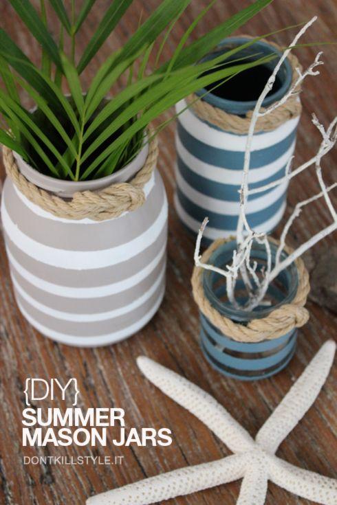 {Do It Yourself} Vasi per decorare la tavola d'estate con i barattoli riciclati