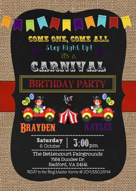 Teki Den Fazla En Iyi Carnival Birthday Invitations Fikri