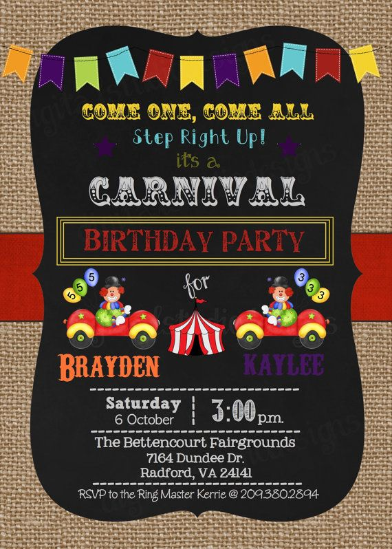 Carnival/Circus Joint Birthday Party by DigitalStudioDesigns