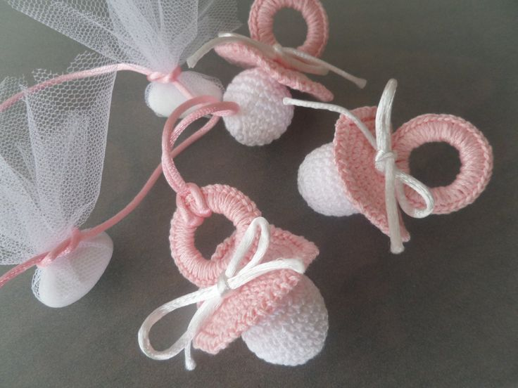 Miniature Crochet Handmade Baby Pacifier Favor/ Pacifier Baby Shower Favors, Thakyou gift for newborn baby by Vintagespecialmoment on Etsy