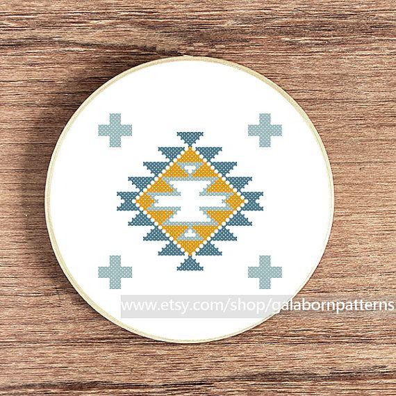Scandinavian Summer ornament 1 - Counted cross stitch pattern PDF - Tribal - Geometric