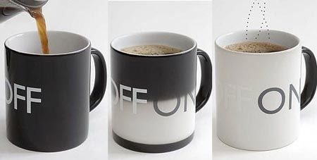 "Coffee mug turns from ""off"" to ""on"" as the coffee warms it up! Cool!"