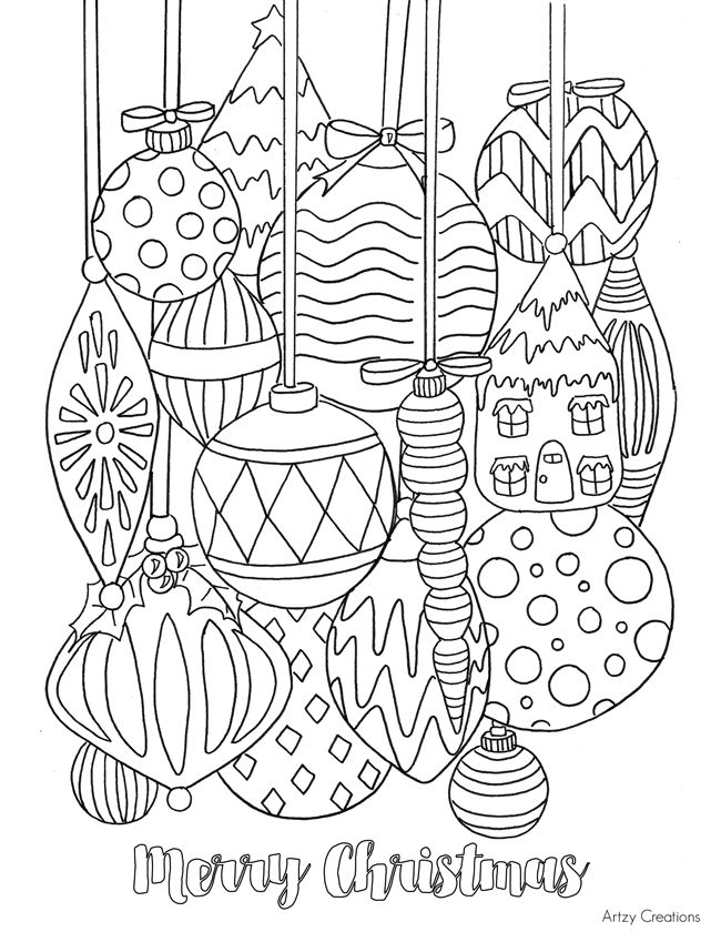 free christmas ornament coloring page - Christmas Coloring Pages For Adults