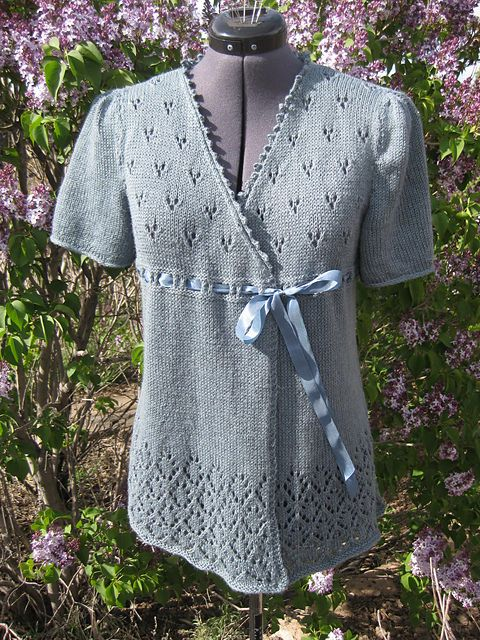 Knitting Pattern for Kellynch Tunic - #ad Short sleeved wrap sweater features lace bodice and hem with ribbon tie. Pictured project by bunnyspinner tba