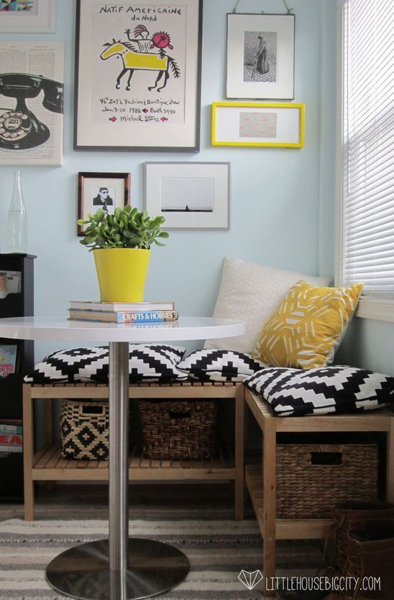5 Tips to Make Small Rooms Worker Harder in Your Home. Click to see how I used them to turn my laundry room into a sunny breakfast nook, mudroom and household storage space.: