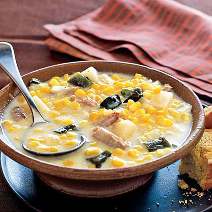 This corn and crab chowder recipes gets its smoky heat from the addition of ground red pepper and a poblano chile. And using claw meat instead of lump crabmeat also contributes to the robust flavor.