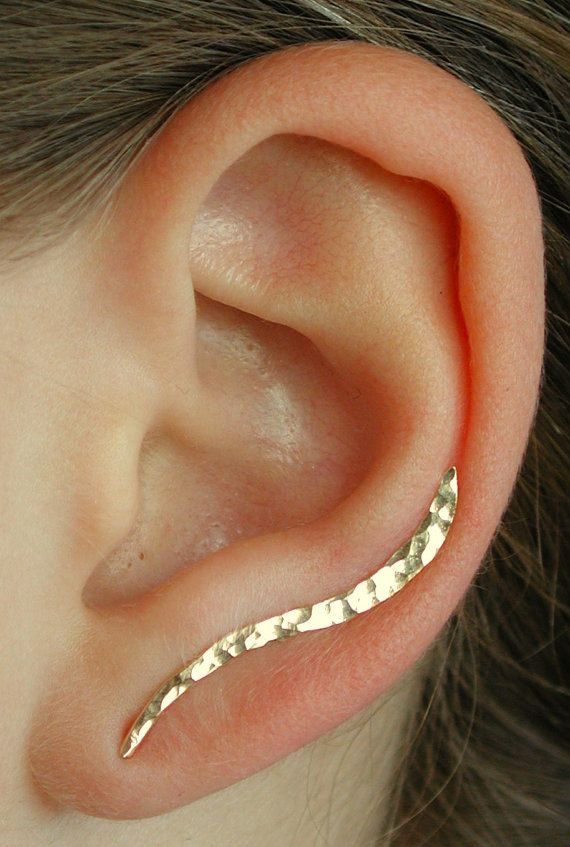 "Ear Pin - ""Small"" Hand Hammered or Smooth Wave -14K Yellow or Rose Gold Filled or Sterling Silver"