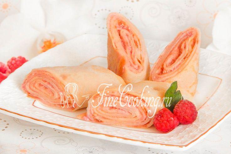 Блинчики со сливочным сыром и малиной - рецепт с фото