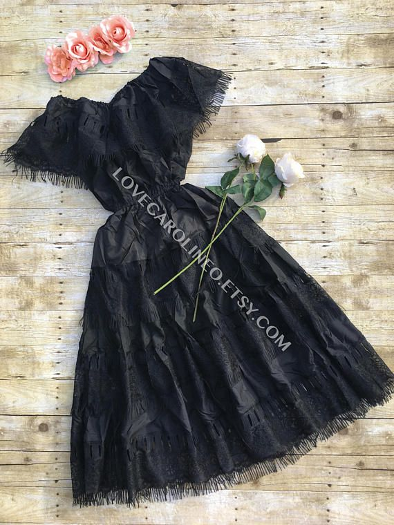 Black Mexican Dress Traditional Bridesmaids Lace Off