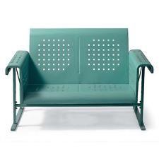 Metal Modern Retro Vintage Vibe Outdoor Loveseat Glider Patio Furniture Blue
