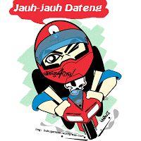 kartu ucapan idul fitri animasi kartun mudik naik motor bergerak