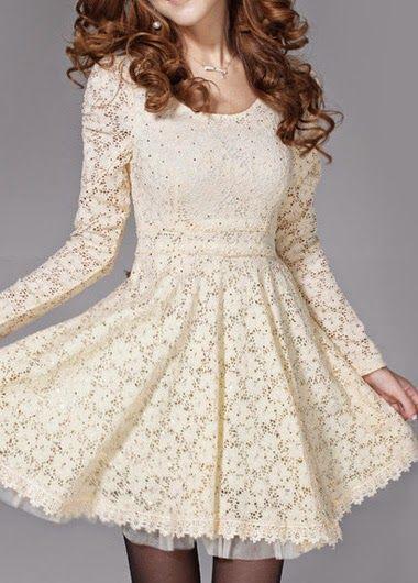 QueUsar.com: Vestido Corto Casual Manga Larga de Encaje