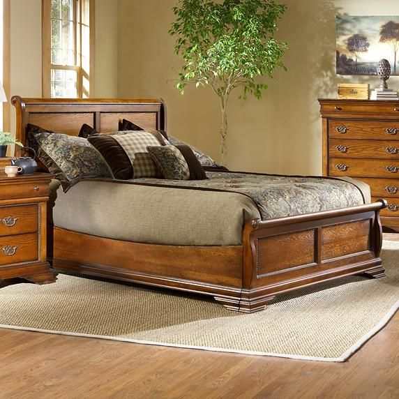 Lafayette Queen Size Low Profile Sleigh Bed With Panel Detail By Largo Wolf Furniture Wolf