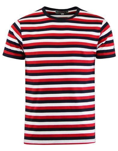 4af2e37a88 Mens 60s style striped t-shirt in red/navy/white. Crew neck. Short sleeve.  Woven. Madcap England embroidered signature to left sleeve. Slim fit.