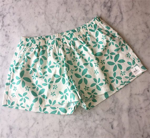 Mint Bridesmaid Boxer Shorts. Women's Pajamas. Turquoise