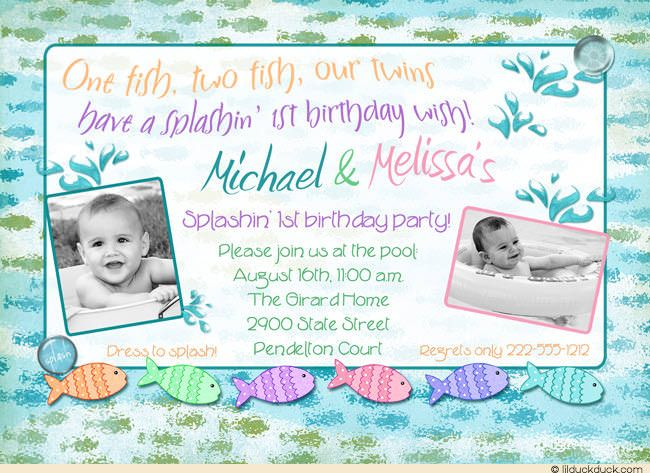 49 best cute twin birthday invitations images on pinterest twin two photo twin fish birthday invitation splashin 1st birthday wish stopboris Gallery