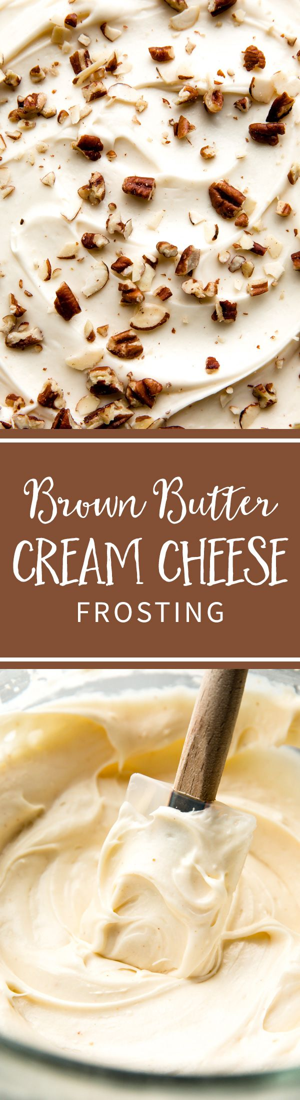 Brown butter cream cheese frosting!! So easy to make and incredibly delicious! Recipe on sallysbakingaddiction.com