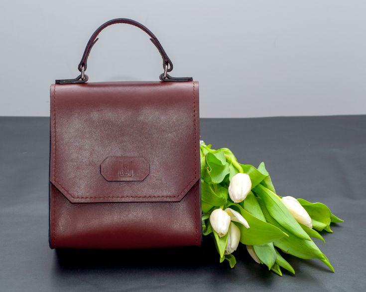 Delicate brown leather handbag