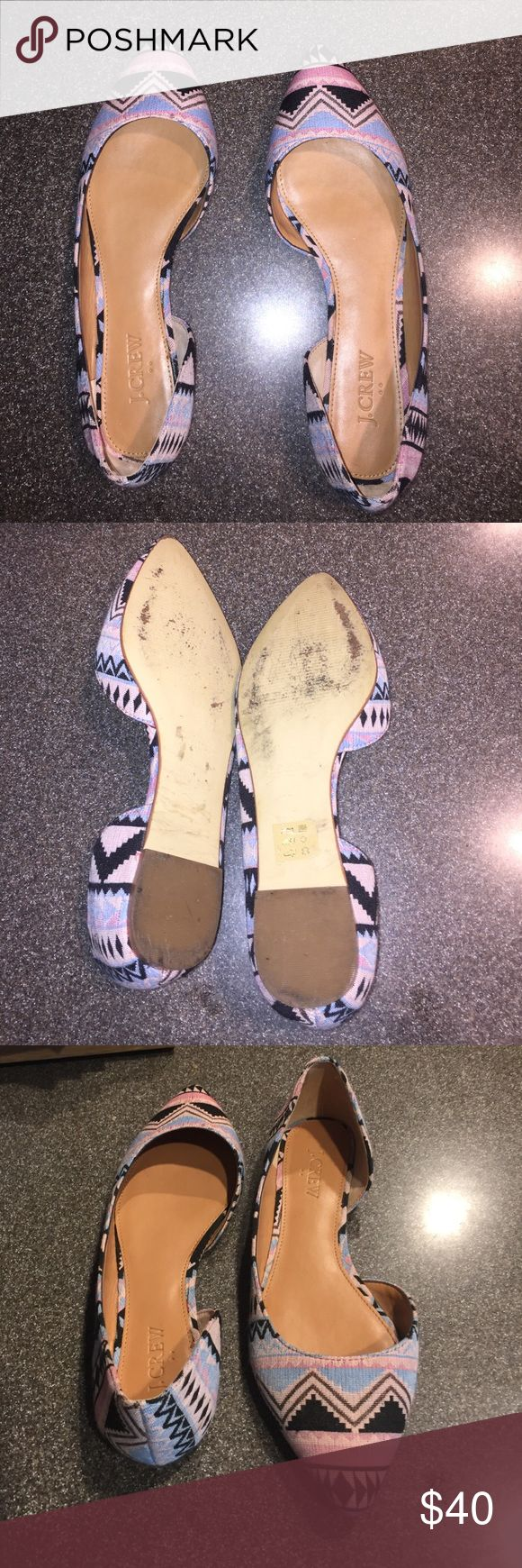 j.crew Aztec  flats size 8 Excellent used condition size 8- too small for me :( gave me blisters only wore 1-2 times love the tribal pattern J. Crew Shoes Sandals