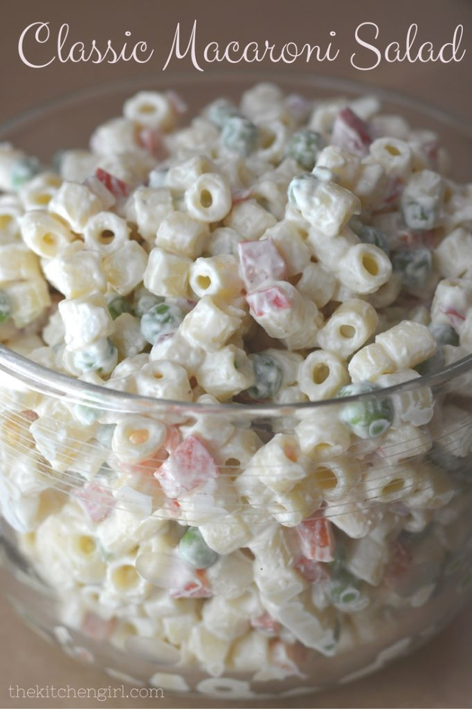 Grab this (lowerfat) Classic Macaroni Salad recipe for your summer picnic or outdoor party. Easy, quick recipe at www.thekitchengirl.com