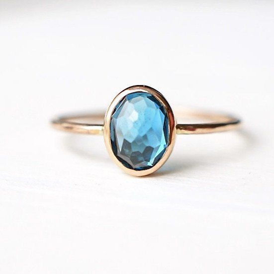 Oval London Blue Topaz Ring in 14k Gold – LUXURING