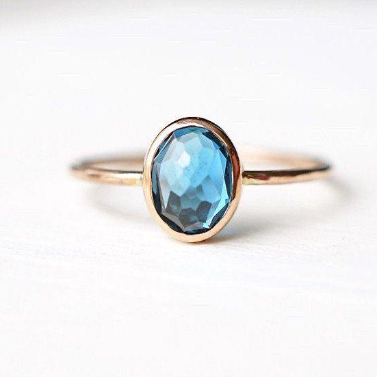 Oval London Blue Topaz Ring in 14k Gold – LUXURING