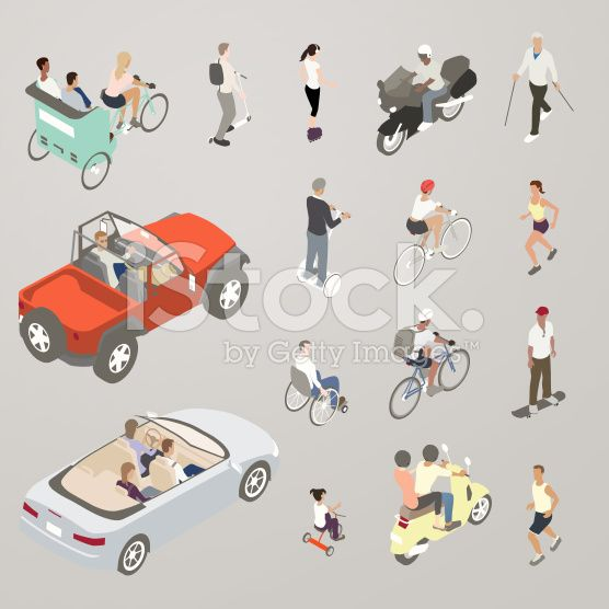 People on the Go - Flat Icons Illustration royalty-free stock vector art