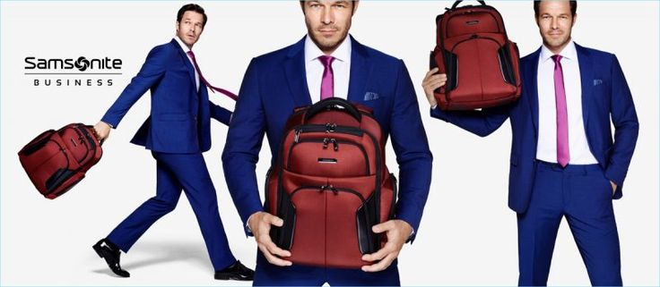 Cleaning up in a suit, Paul Sculfor stars in Samsonite's new campaign.