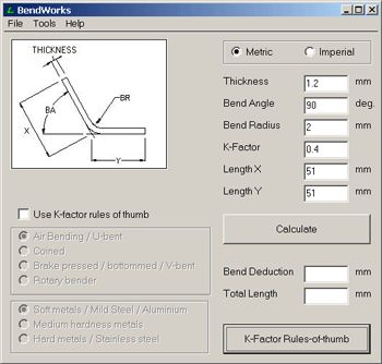 """This is a simple calculator to help you calculate bend deductions, and to help you reverse engineer the best K-factor to use when creating sheet-metal parts in you favorite CAD program. It also includes a set of default """"rule of thumb"""" K-factors to use for various materials, radii, and bending methods."""