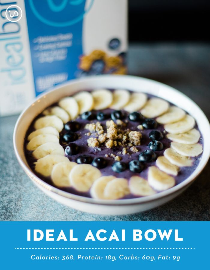 Ideal Acai Bowl 1 cup frozen mixed berries 1 cup unsweetened coconut milk 1 scoop Vanilla IdealShake 1 packet acai purree Top with: ½ Blueberry Crisp IdealBar, ground ½ medium banana, sliced ¼ cup fresh blueberries  Blend mixed berries, coconut milk, Vanilla IdealShake, and acai puree until smooth. Pour into bowl and top with ground Blueberry Crisp IdealBar, banana slices, and blueberries. Enjoy! Serves 1. Serving size: 1 acai bowl.
