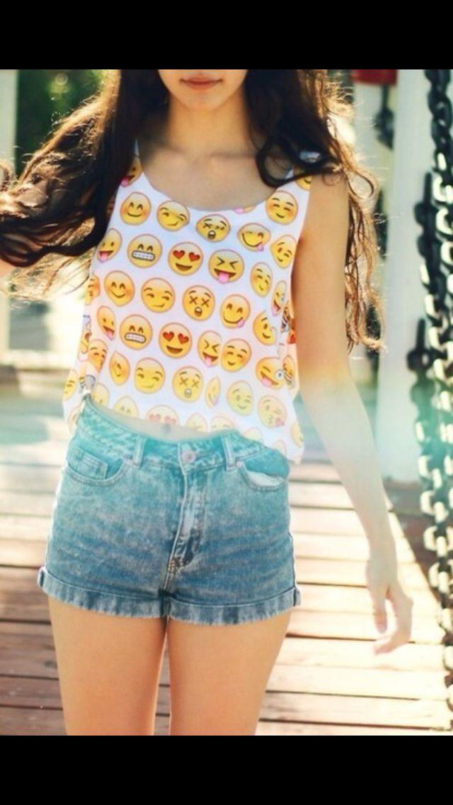 Emoji cropped tank top