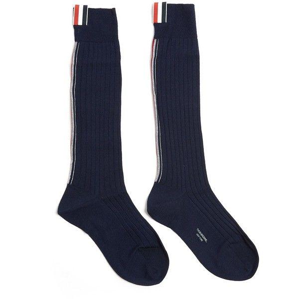 THOM BROWNE Merino Wool Socks (2.419.365 IDR) ❤ liked on Polyvore featuring intimates, hosiery, socks, merino socks, striped socks, navy blue socks, thom browne and thom browne socks