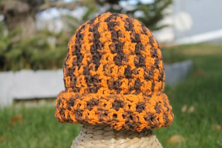 Crochet Halloween Beanie. hand dyed cotton. 6-12 month $25