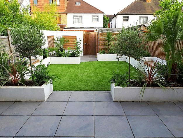 Two small patio and lawn gardens are uplifted with contemporary border boxes, while a narrow front garden gets a complete facelift