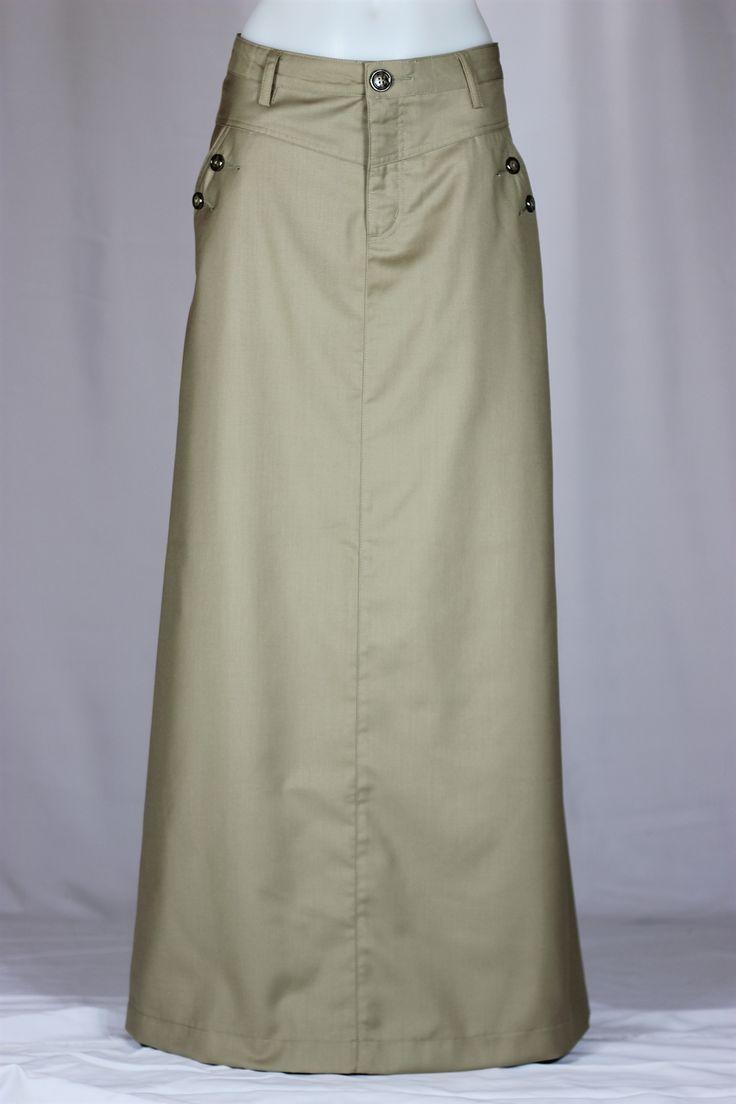 Just Chic Long Khaki Skirt