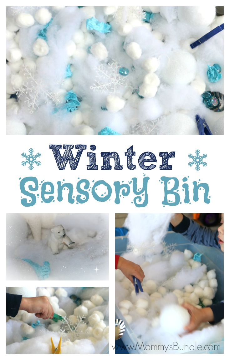 This fun winter sensory bin is an easy indoor activity, great for practicing fine-motor skills and fighting boredom when it's too cold to play outside.
