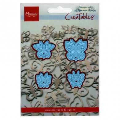 Butterflies Set - Creatables by Marianne Design - Creatables are stencils for cutting and embossing paper. Always be careful when rolling the Creatables through the machine (there are different ways of stacking). After cutting remove the tiny paper particles from the stencil.