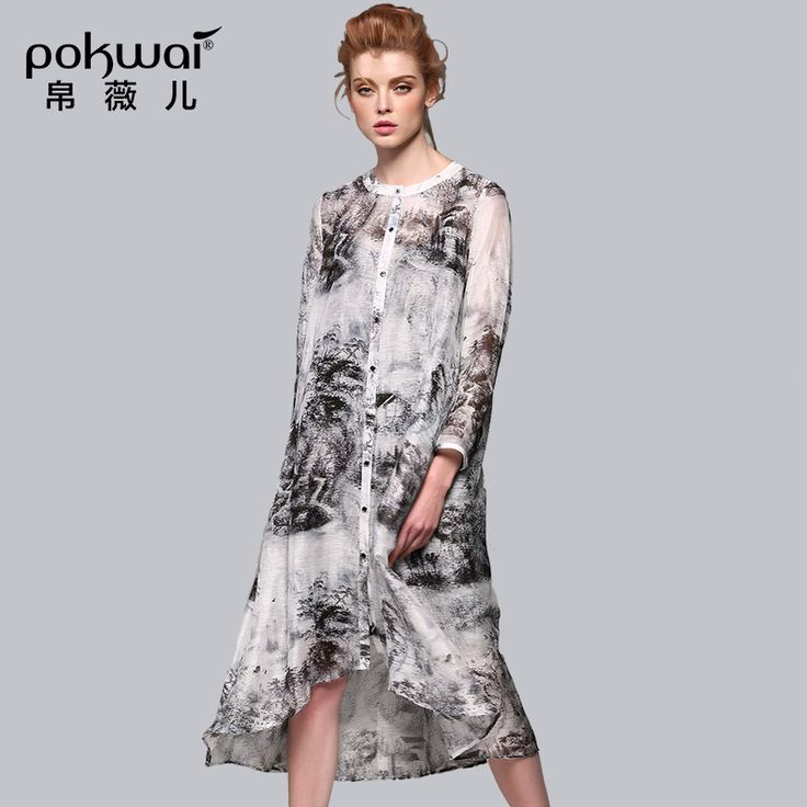 POKWAI High Quality Vintage Print Silk And Linen Dress Women Mid-Calf O-Neck Long Sleeve Original Designed Asymmetrical Dresses