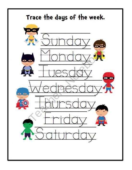 days of the week printables pdf