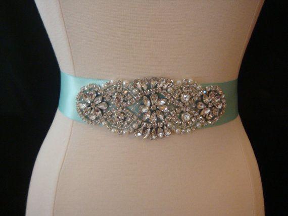 Bridal Sash robe Sash ceinture strass bleu par BellaFleurBridal