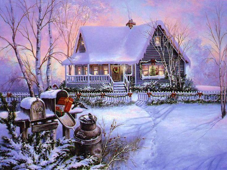 old cabin winter scene wallpaper - photo #8