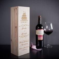 Skrzynka personalizowana na wino TORT idealny na urodziny