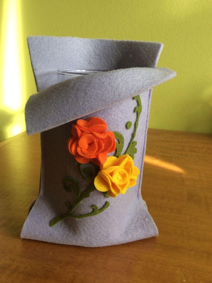 Vaso fiori rivestito in feltro