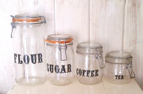 Le Parfait 4 Piece Glass Mason Jar Canister Set Flour