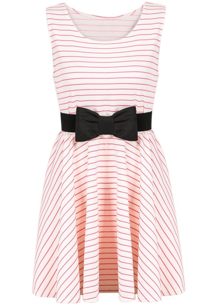 Red White Striped Sleeveless Bow Dress