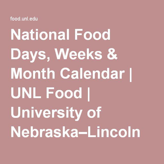 National Food Days, Weeks & Month Calendar | UNL Food | University of Nebraska–Lincoln