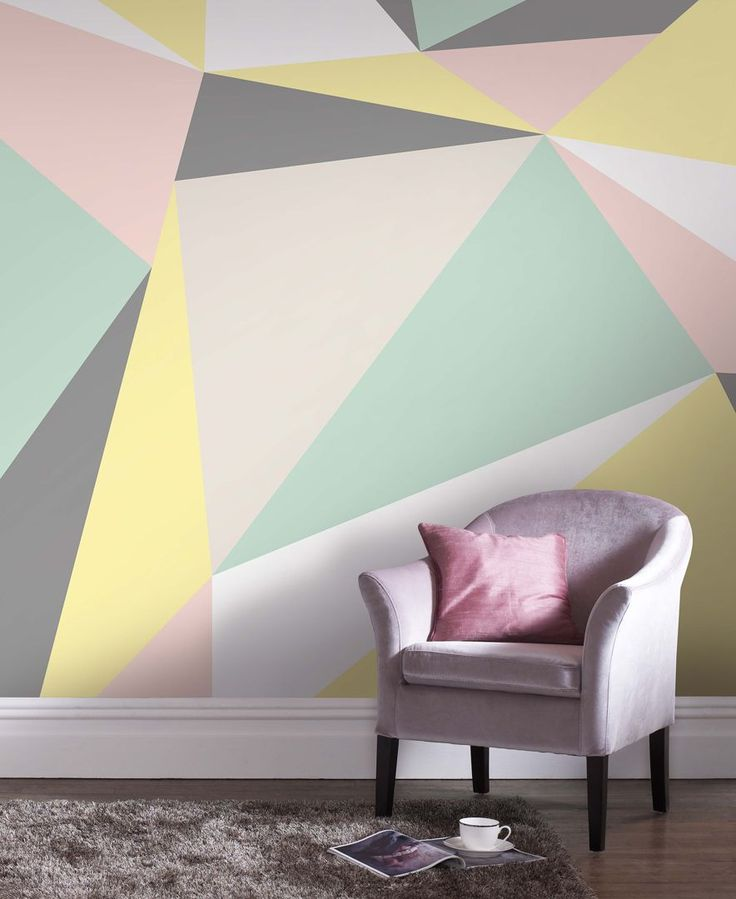 Add sharp contrasts and soft style to your space with the intriguing angles and inviting palette of the Graham & Brown Pastel Geometric wall mural. | Non-woven paper | Wipe clean | Imported | Dimensio