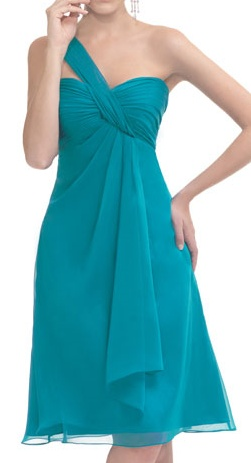 One Strap Short Chiffon light blue A-line pleated Bridesmaid Dress Available in Spring/summer Clearance, Inexpensive Royal Wedding Kids Outfits